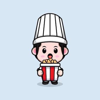Leuke mannelijke chef-kok met popcorn cartoon mascotte illustratie