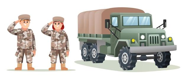 Leuke mannelijke en vrouwelijke leger soldaat karakters met militaire vrachtwagen cartoon afbeelding