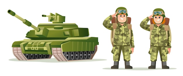 Leuke mannelijke en vrouwelijke legersoldaat die rugzakkarakters draagt met de afbeelding van het tankbeeldverhaal
