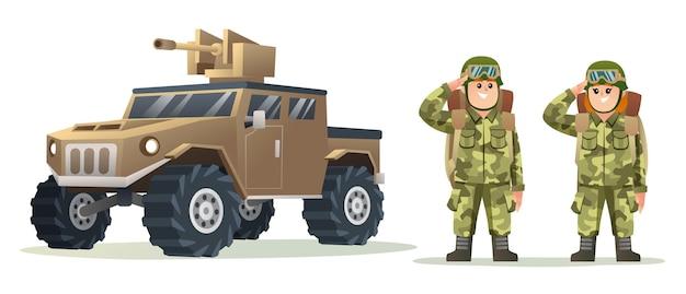 Leuke mannelijke en vrouwelijke legersoldaat die rugzakkarakters draagt met illustratie van een militair voertuig