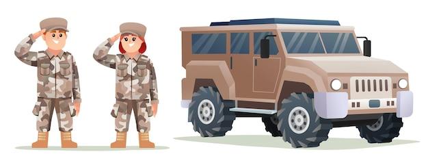 Leuke mannelijke en vrouwelijke legersoldaatpersonages met cartoonillustratie van een militair voertuig