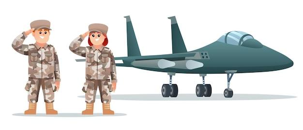 Leuke mannelijke en vrouwelijke legersoldaatpersonages met militair straalvliegtuig
