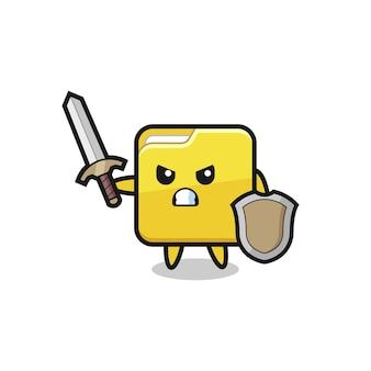 Leuke map soldaat vechten met zwaard en schild, schattig stijlontwerp voor t-shirt, sticker, logo-element