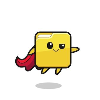 Leuke map superheld karakter vliegt, schattig stijlontwerp voor t-shirt, sticker, logo-element