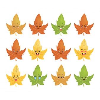 Leuke maple leaf emoticon smiles set
