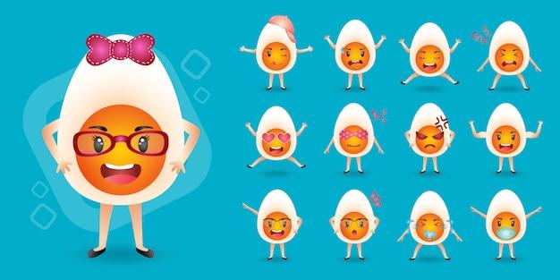 Leuke mascotte gekookte eieren tekenset collectie