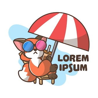 Leuke mascotte logo fox cartoon