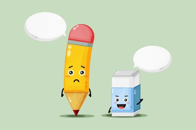 Leuke mascotte potlood en gum