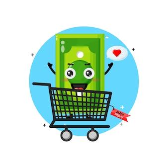 Leuke mascotte van het geldbankbiljet in winkelwagen met korting op zwarte vrijdag