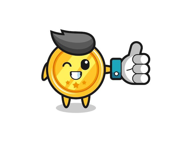 Leuke medaille met symbool voor sociale media duimen omhoog, schattig stijlontwerp voor t-shirt, sticker, logo-element