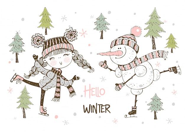 Leuke meisje en sneeuwpop in hoed en sjaal schaatsen. hallo winter.
