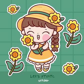 Leuke meisje zonnebloem cartoon sticker kawaii karakter picknick collectie