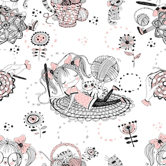 Leuke meisjes naaldvrouwen gehaakte breisters. naadloze patroon. vector.