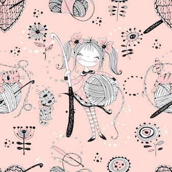 Leuke meisjes naaldvrouwen gehaakte breisters. naadloze patroon.