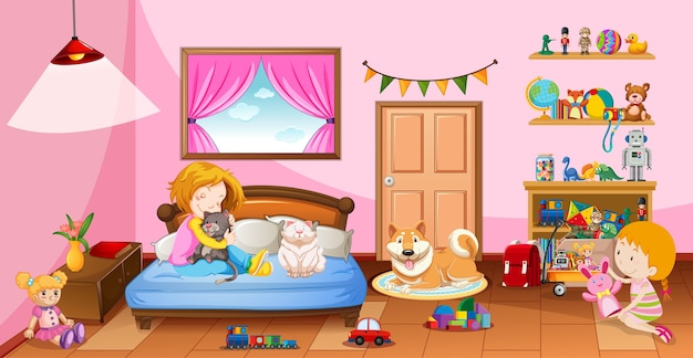 Leuke meisjes spelen met hun speelgoed in de roze slaapkamerscène