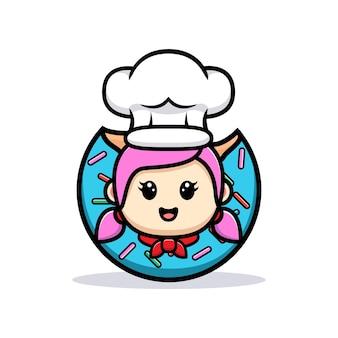 Leuke meisjeschef-kok binnen het ontwerp van de doughnutmascotte