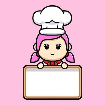 Leuke meisjeschef-kok die leeg de mascotteontwerp van de tekstraad houden