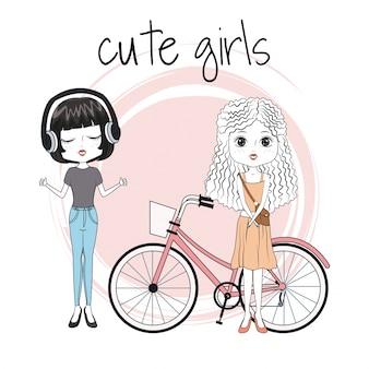 Leuke meisjesvrienden met fiets