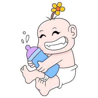 Leuke menselijke baby die een melkfles draagt, vectorillustratieart. doodle pictogram afbeelding kawaii.