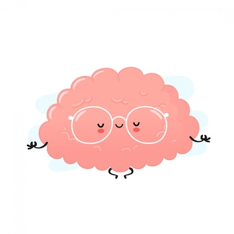 Leuke menselijke hersenen mediteren. cartoon karakter illustratie pictogram ontwerp. geïsoleerd