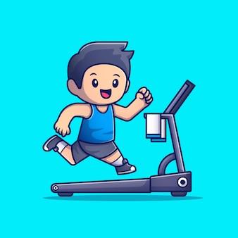 Leuke mensen lopen op loopband cartoon pictogram illustratie. het pictogramconcept geïsoleerde premie van de mensensport. flat cartoon stijl