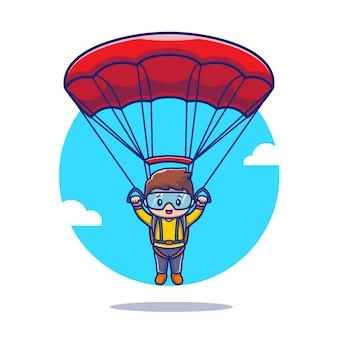 Leuke mensen parachutespringen cartoon pictogram illustratie. de mensen sport dierlijk pictogramconcept geïsoleerde premie. flat cartoon stijl