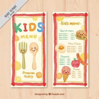 Leuke menu voor kinderen geschilderd in aquarel