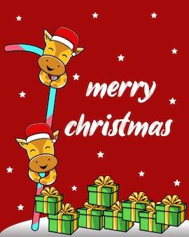 Leuke merry christmas achtergrond met giraf cartoon