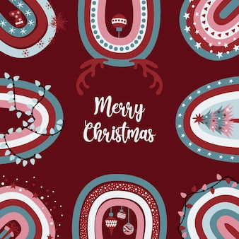 Leuke merry christmas-wenskaart met feestelijke versierde boho-regenbogen