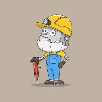 Leuke mijnwerkerrobot met boorgereedschap