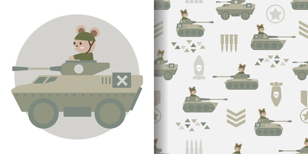 Leuke militaire cartoon naadloze patroon print oppervlakte ontwerp illustratie