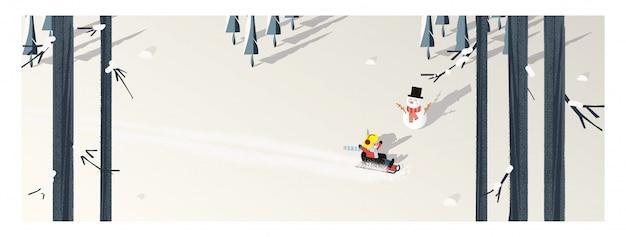 Leuke minimalistische vector van winterseizoen. panoramisch snowey winterlandschap met gelukkig kind rijden op slee. dennenboom en sneeuwpop schaduw gelegd op witte sneeuw met gele bladeren en bladverliezende wouden.
