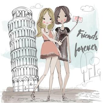 Leuke mode-cartoonmeisjes in schetsmatige stijl