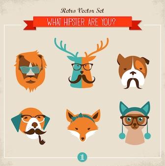 Leuke mode hipster dieren & huisdieren, set van pictogrammen