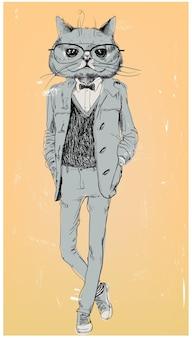 Leuke mode hipster kat met bril. vector illustratie