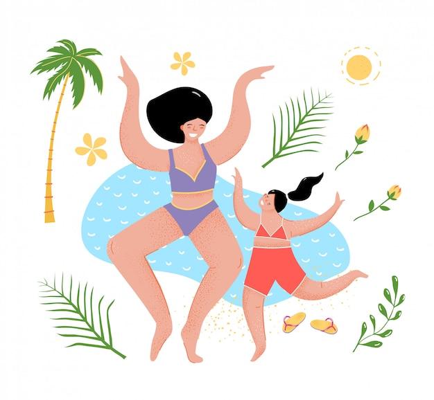 Leuke moeder en dochter op de zee platte cartoon.