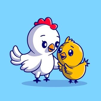 Leuke moeder kip met kip cartoon vectorillustratie pictogram. dierlijke natuur pictogram concept geïsoleerd premium vector. platte cartoonstijl