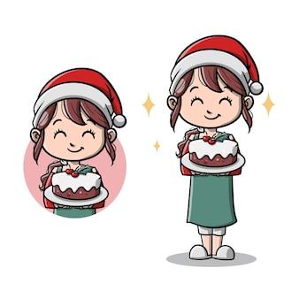 Leuke moeder met haar kersttaart cartoon