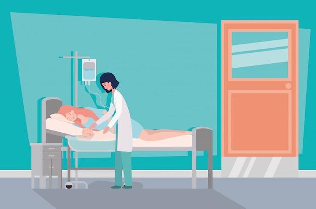Leuke moeder met pasgeboren baby en arts in het ziekenhuis kamer