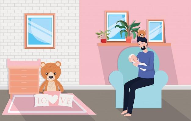 Leuke moeder met pasgeboren baby in woonkamer