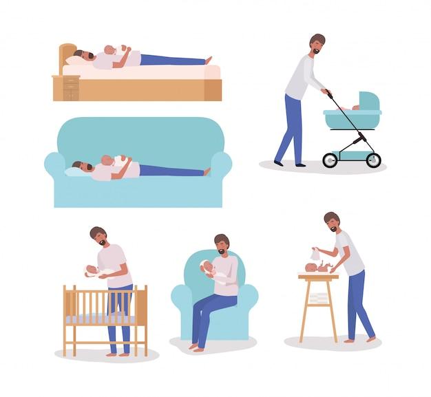 Leuke moeder met pasgeboren baby set activiteiten