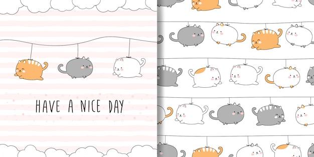 Leuke mollige kat cartoon doodle naadloze patroon en kaart dekking