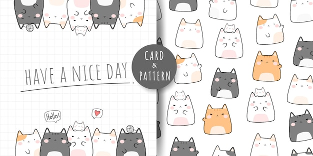 Leuke mollige kat cartoon doodle naadloze patroon en kaart