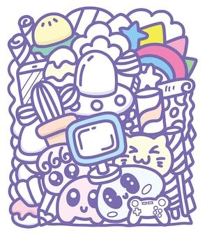 Leuke monster groep doodle kunst