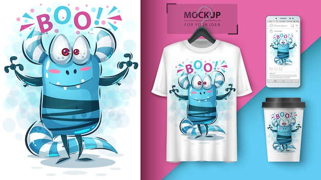 Leuke monster hallo illustratie en merchandising