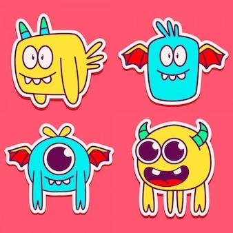 Leuke monster karakter ontwerp illustratie