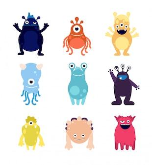 Leuke monsters. grappige monster aliens mascottes. gekke hongerige halloween speelgoed stripfiguren