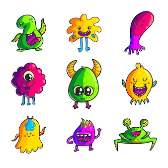 Leuke monsters kleuren hand getrokken tekenset