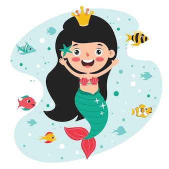 Leuke mooie cartoon zeemeermin poseren