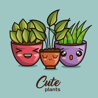 Leuke mooie kawaii kamerplantencartoons